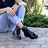 Модельные кожаные черные женские ботинки натуральная кожа на флисе шнуровка, фото 5