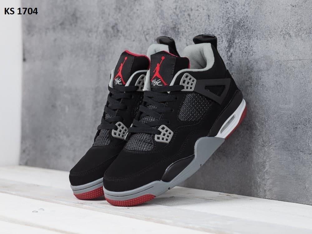 Чоловічі кросівки Nike Air Jordan 4 Retro (чорно, білі) KS 1704