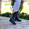 Высокие кожаные черные женские ботинки натуральная кожа на флисе удобный каблук, фото 2