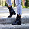 Высокие кожаные черные женские ботинки натуральная кожа на флисе удобный каблук, фото 4