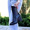 Высокие кожаные черные женские ботинки натуральная кожа на флисе удобный каблук, фото 5