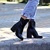 Высокие кожаные черные женские ботинки натуральная кожа на флисе удобный каблук, фото 6