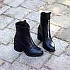 Высокие кожаные черные женские ботинки натуральная кожа на флисе удобный каблук, фото 7
