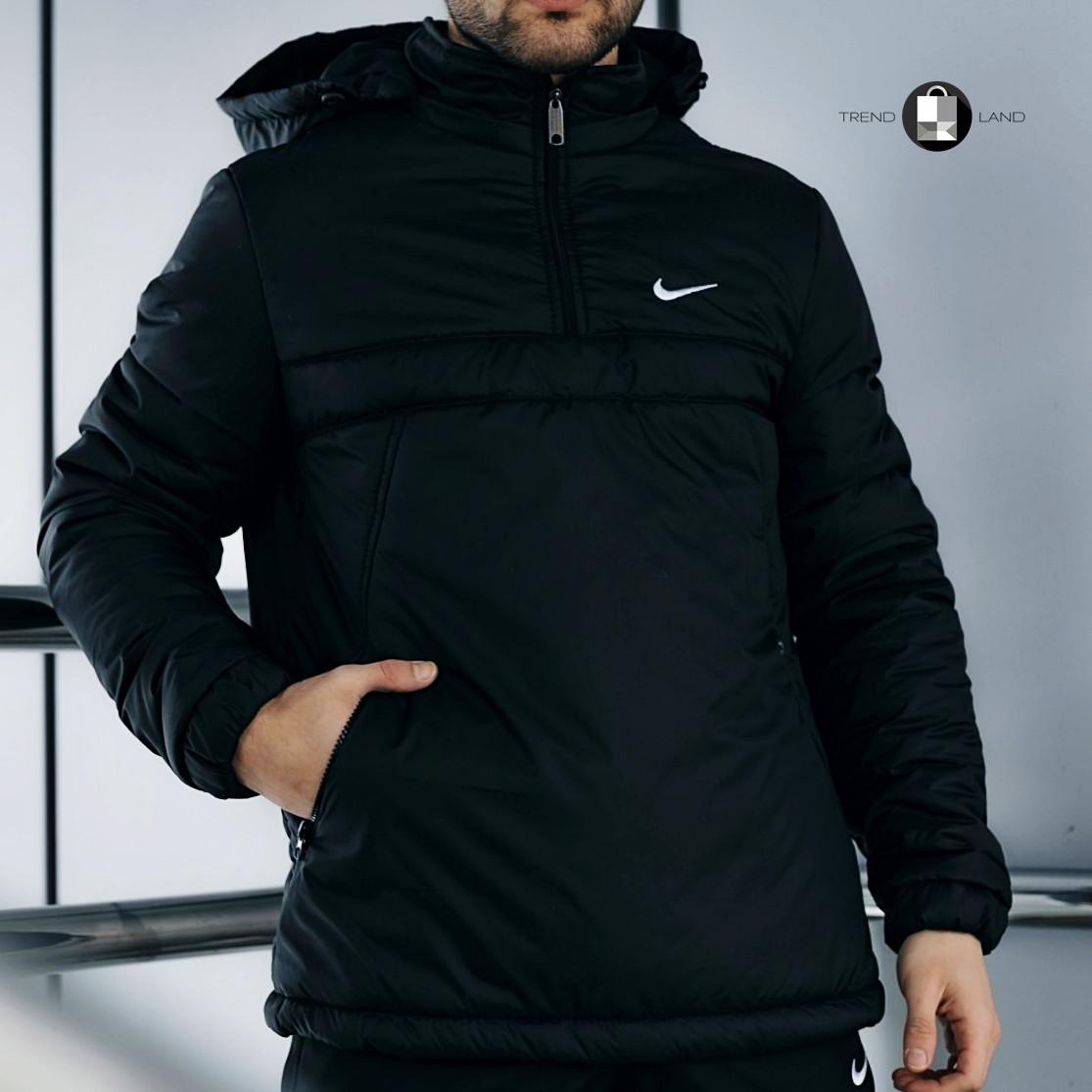 Размеры S-2XL | Мужская утепленная куртка анорак Nike Black Черный