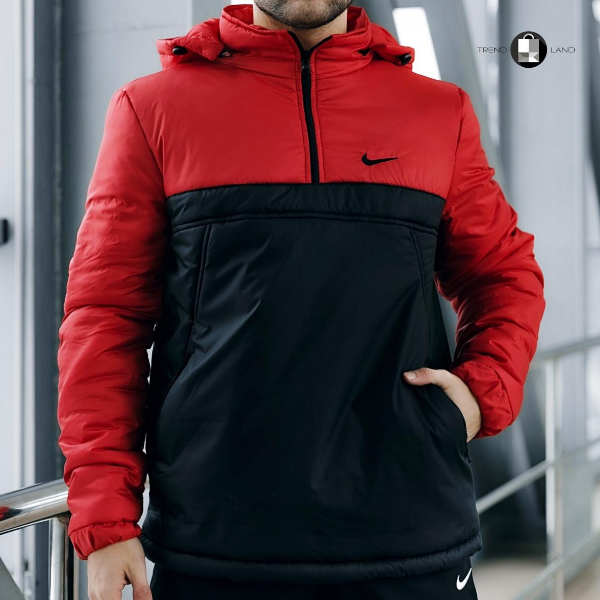 Размеры S-2XL   Мужская утепленная куртка анорак Nike Red\Black