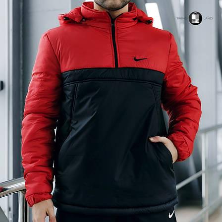 Размеры S-2XL   Мужская утепленная куртка анорак Nike Red\Black, фото 2