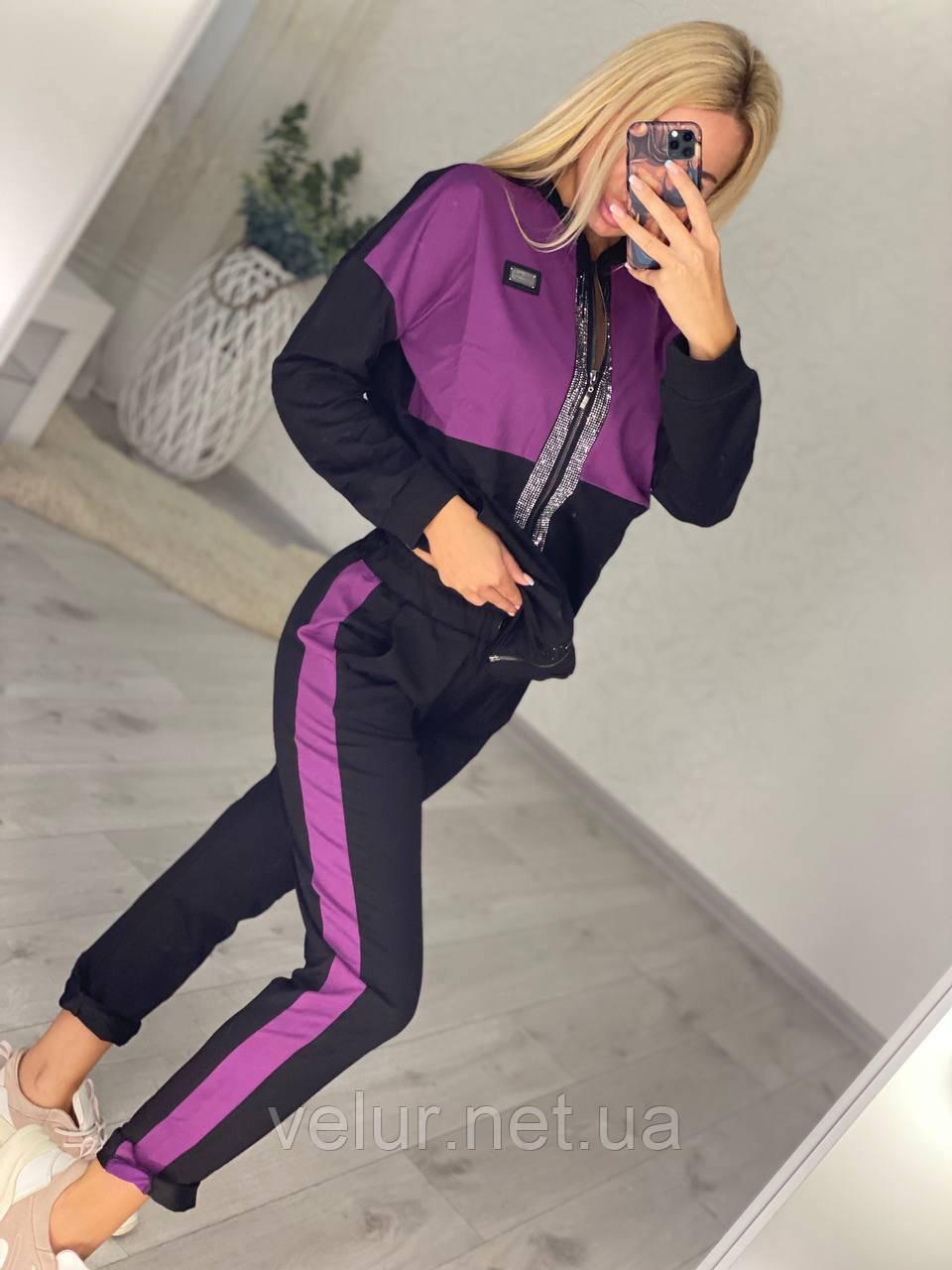 Женский спортивный костюм, украшен апликациями из камней (Турция); Размер:С,М,Л,ХЛ (полномерные)