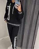 Жіночий спортивний трикотажний костюм, (Туреччина); Розміри:50,52,54,56 (наші повномірні) Колір: чорний, червоний., фото 2
