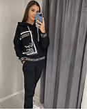 Жіночий спортивний трикотажний костюм, (Туреччина); Розміри:50,52,54,56 (наші повномірні) Колір: чорний, червоний., фото 3