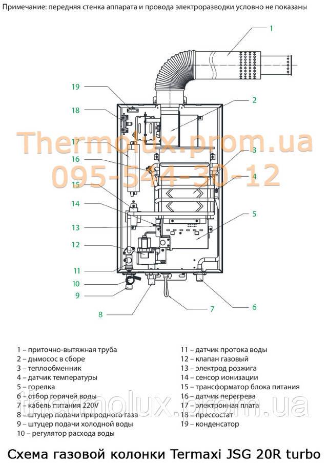 Схема газовой колонки Termaxi JSG 20R turbo
