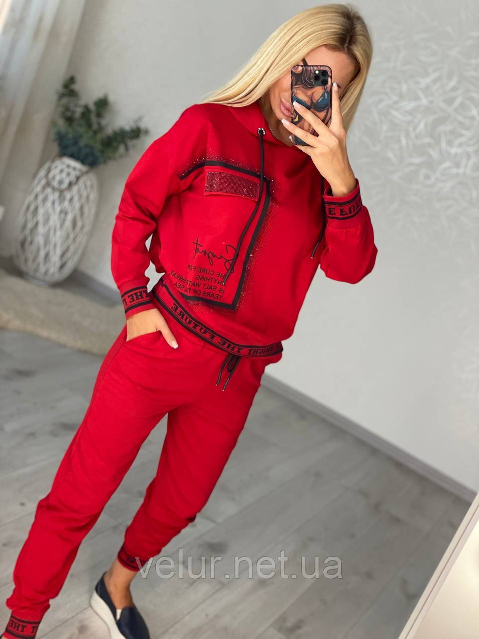 Жіночий спортивний трикотажний костюм, (Туреччина); Розміри:50,52,54,56 (наші повномірні) Колір: чорний, червоний.