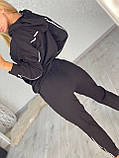 Жіночий спортивний трикотажний костюм, (Туреччина); Розміри:З,М,Л,ХЛ (повномірні) Кольори: чорний,бежевий,хакі., фото 3