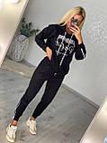 Женский спортивный трикотажный костюм, (Турция); Размеры:С,М,Л,ХЛ (полномерные) Цвета: черный,беж,хаки., фото 2