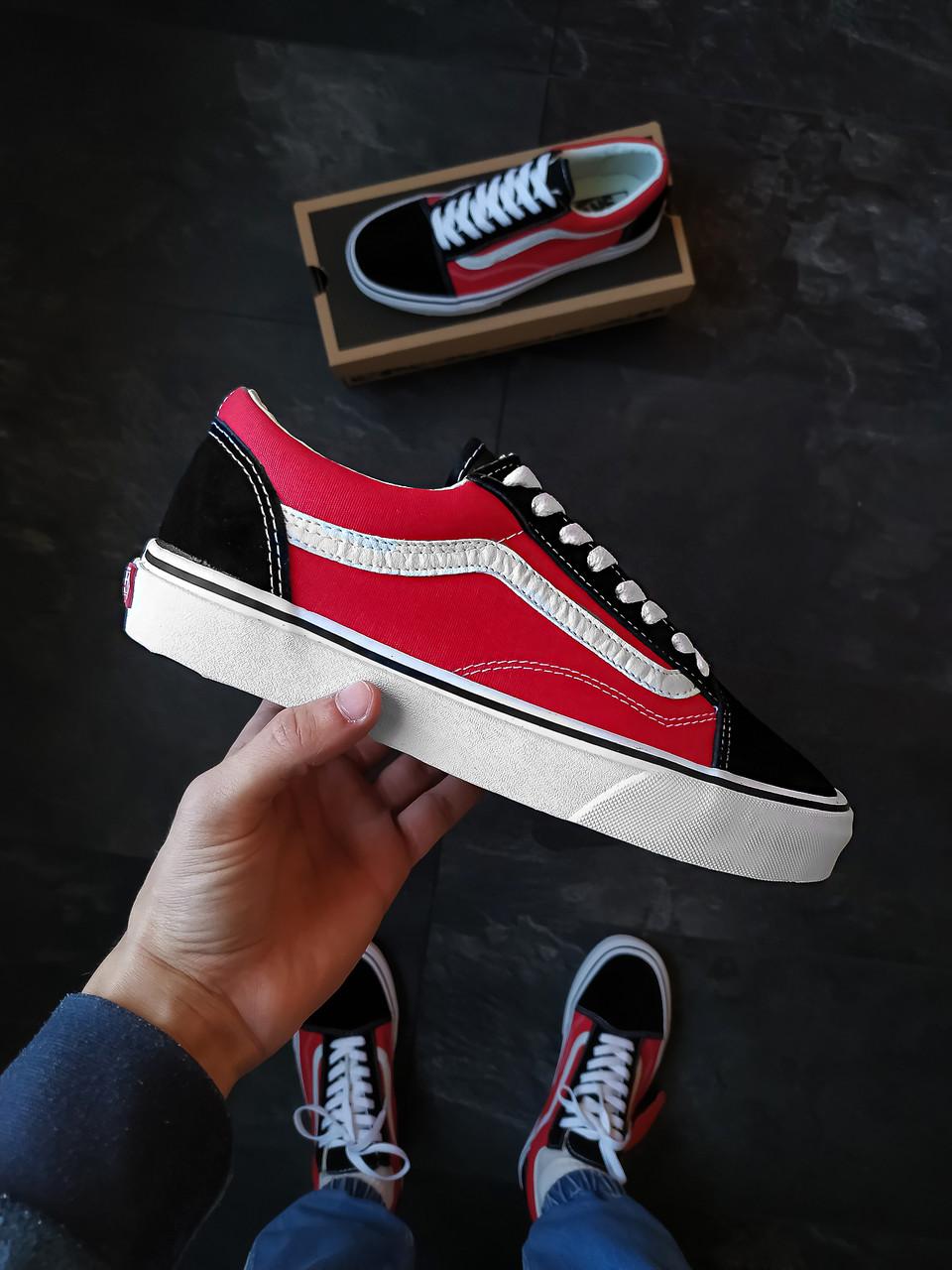 Мужские кеды Vans Old Skool Красно-черные