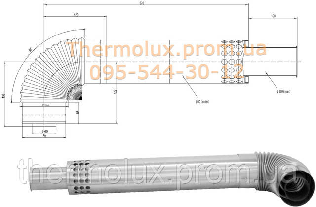 Труба к газовой колонке Termaxi JSG 20R turbo