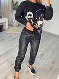 Жіночий спортивний трикотажний костюм,брюки екокожа (Туреччина); Розміри:З,М,Л,ХЛ (повномірні), фото 2