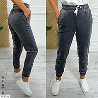 Велюровые проулочные спортивные штаны женские зауженные с карманами р-ры 42-48 арт. 170