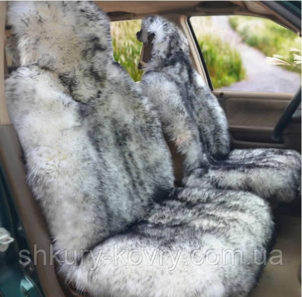 Авточохли з натуральної овчини біла з чорними кінчиками, хутряні накидки
