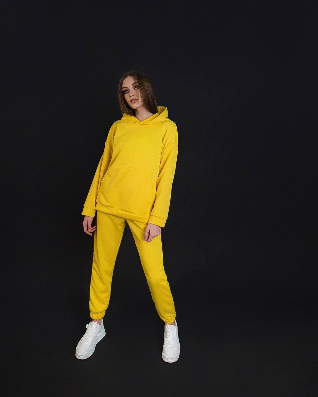 Жіночий костюм двійка з кишенями і капюшоном молодіжний оверсайз oversize Dekka MomOver 1.0 Жовтий лимон