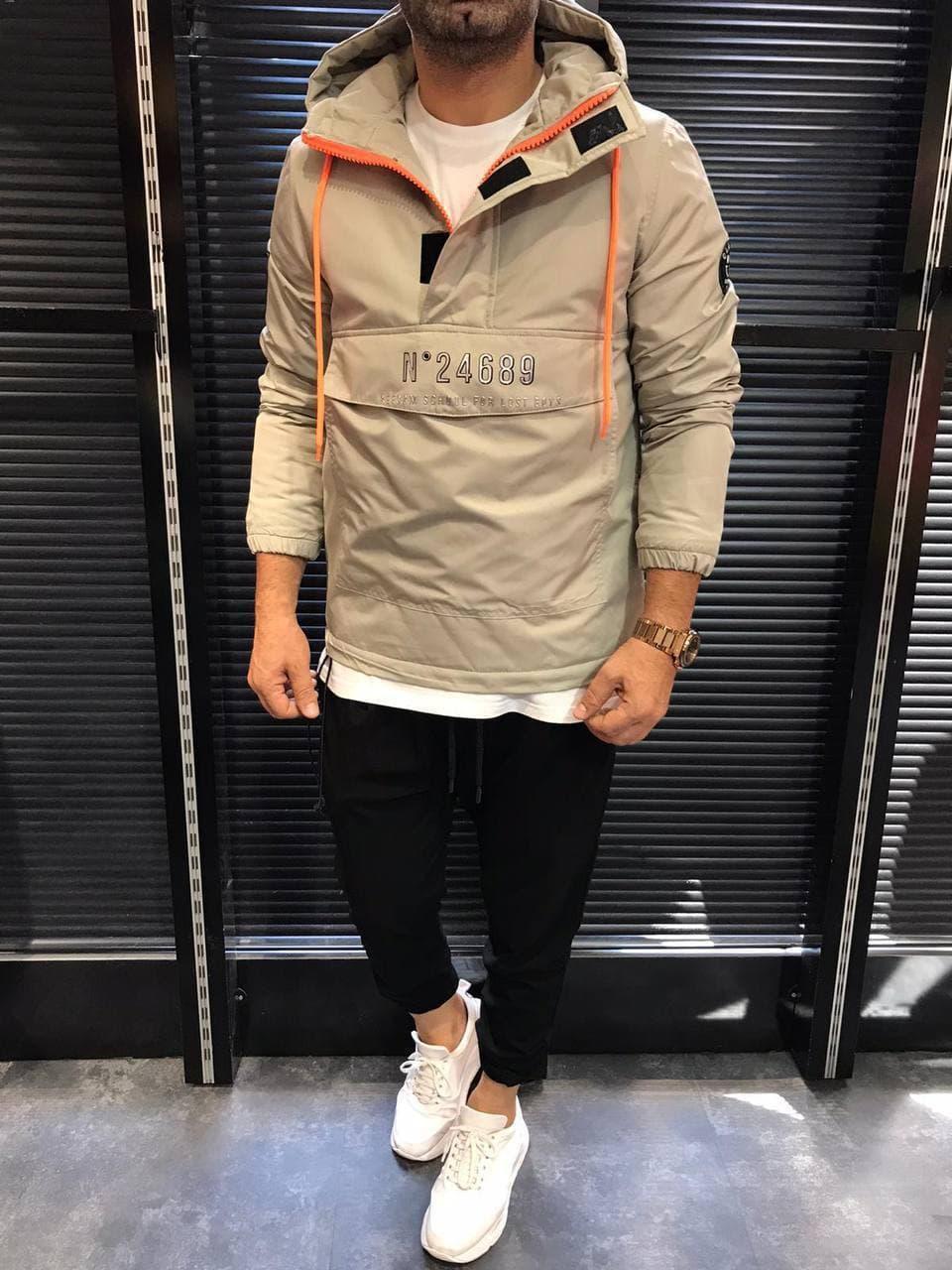 Вітровка анорак сірий чоловічий, куртки Туреччина (анорак демісезонний весна - осінь) куртка з капюшоном