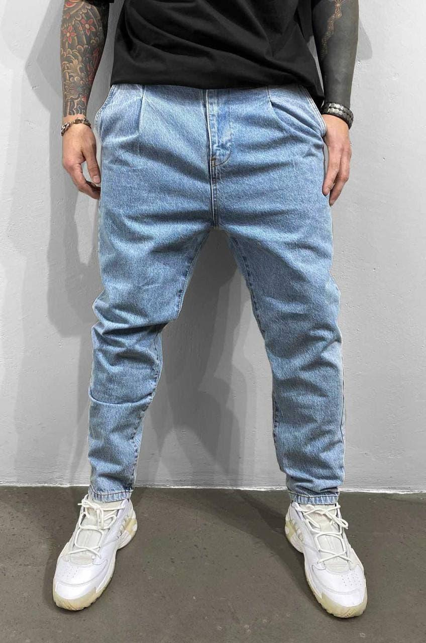 Мужские джинсы МОМ голубого цвета (голубые) , молодежные бойфренды прямые Турция
