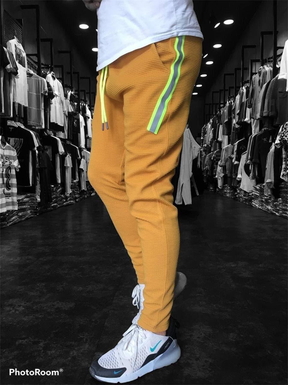 Спортивные штаны мужские горчичные Турция, стильные, повседневные на резинке