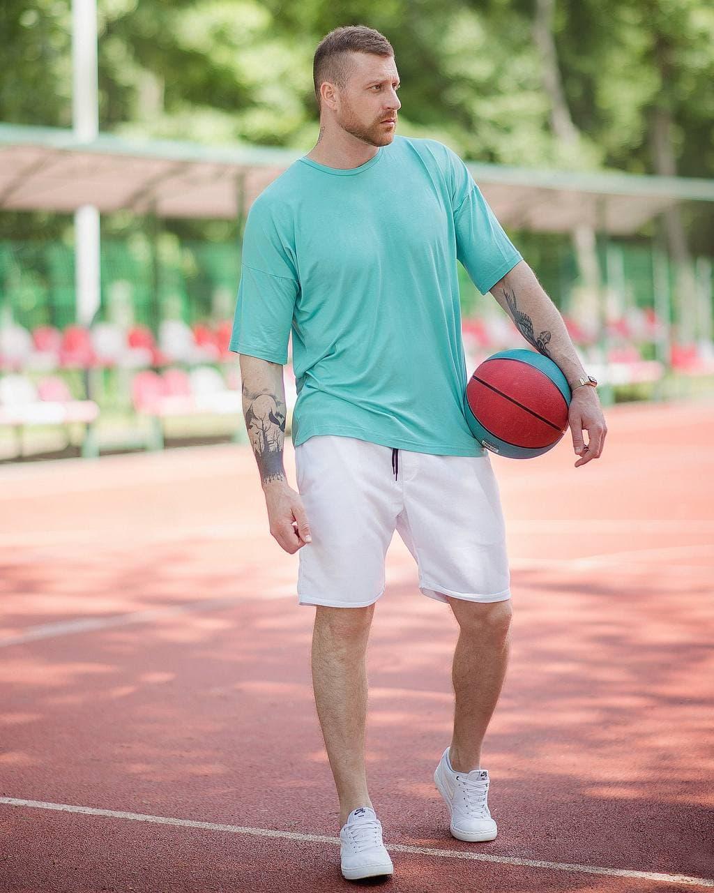 Футболка оверсайз чоловіча DekkaAsosOverSlim Чоловіча футболка бірюзова вільного крою бавовняна ЛЮКС якості