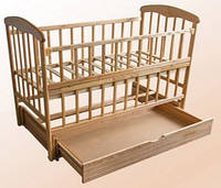 Детская кроватка Наталка с маятником и ящиком и откидной спинкой, фото 1