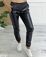 Кожаные джоггеры женские брюки с карманами из экокожи с резинкой на манжете р-ры 42-48  арт.  2405