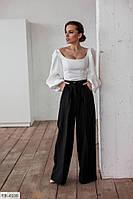 Широкие брюки женские стильные расклешенные клеш с завышенной талией р-ры 42-44 арт. l 23