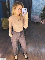Стильные замшевые брюки женские со стрелками эффектные в деловом стиле р-ры 42-48 арт. 0404
