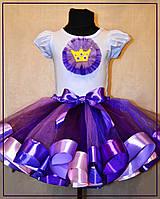 Фиолетовая юбка пачка с лентами