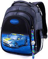 Ортопедический рюкзак (ранец) в школу серый для мальчика Winner One с Машиной 36x29x14 см для начальной школы