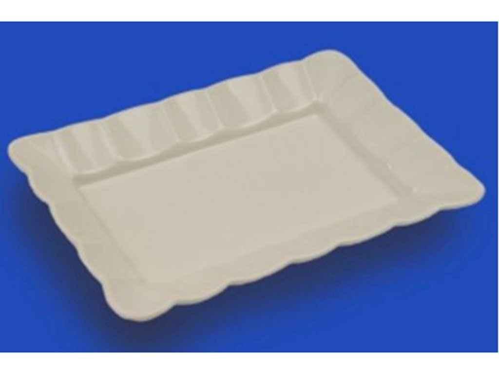 Блюдо Рельєф 2 середнє біле, 25,5 см ТМ АВАНГАРД