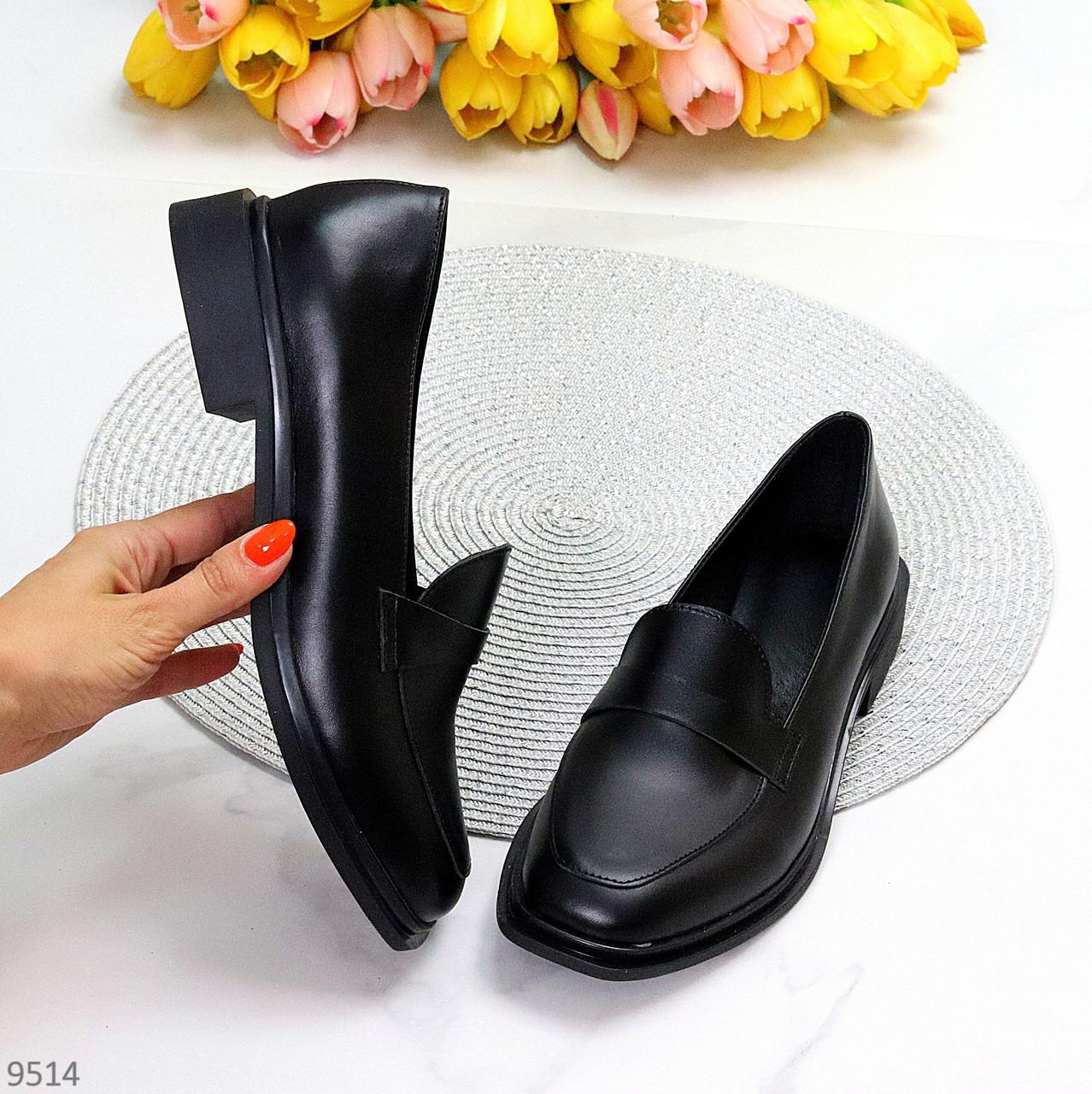 Практичні чорні шкіряні жіночі туфлі натуральна шкіра низький хід