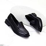 Практичні чорні шкіряні жіночі туфлі натуральна шкіра низький хід, фото 2