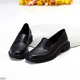 Практичні чорні шкіряні жіночі туфлі натуральна шкіра низький хід, фото 4
