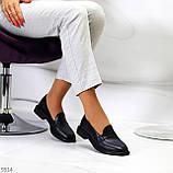 Практичні чорні шкіряні жіночі туфлі натуральна шкіра низький хід, фото 5
