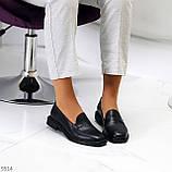 Практичні чорні шкіряні жіночі туфлі натуральна шкіра низький хід, фото 6