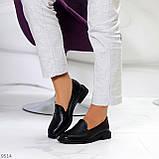 Практичні чорні шкіряні жіночі туфлі натуральна шкіра низький хід, фото 7
