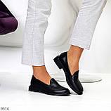 Практичні чорні шкіряні жіночі туфлі натуральна шкіра низький хід, фото 8
