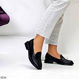 Практичні чорні шкіряні жіночі туфлі натуральна шкіра низький хід, фото 9