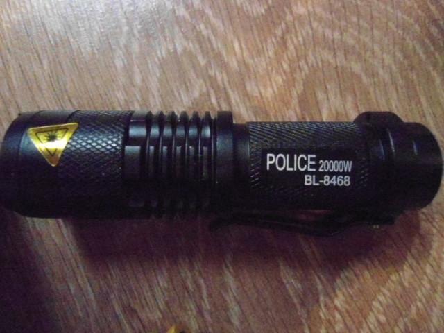 Тактический фонарь фонарик Police BL-8468 20000W с аккумулятором 14500 и зарядным устройством вес 60 г ручной