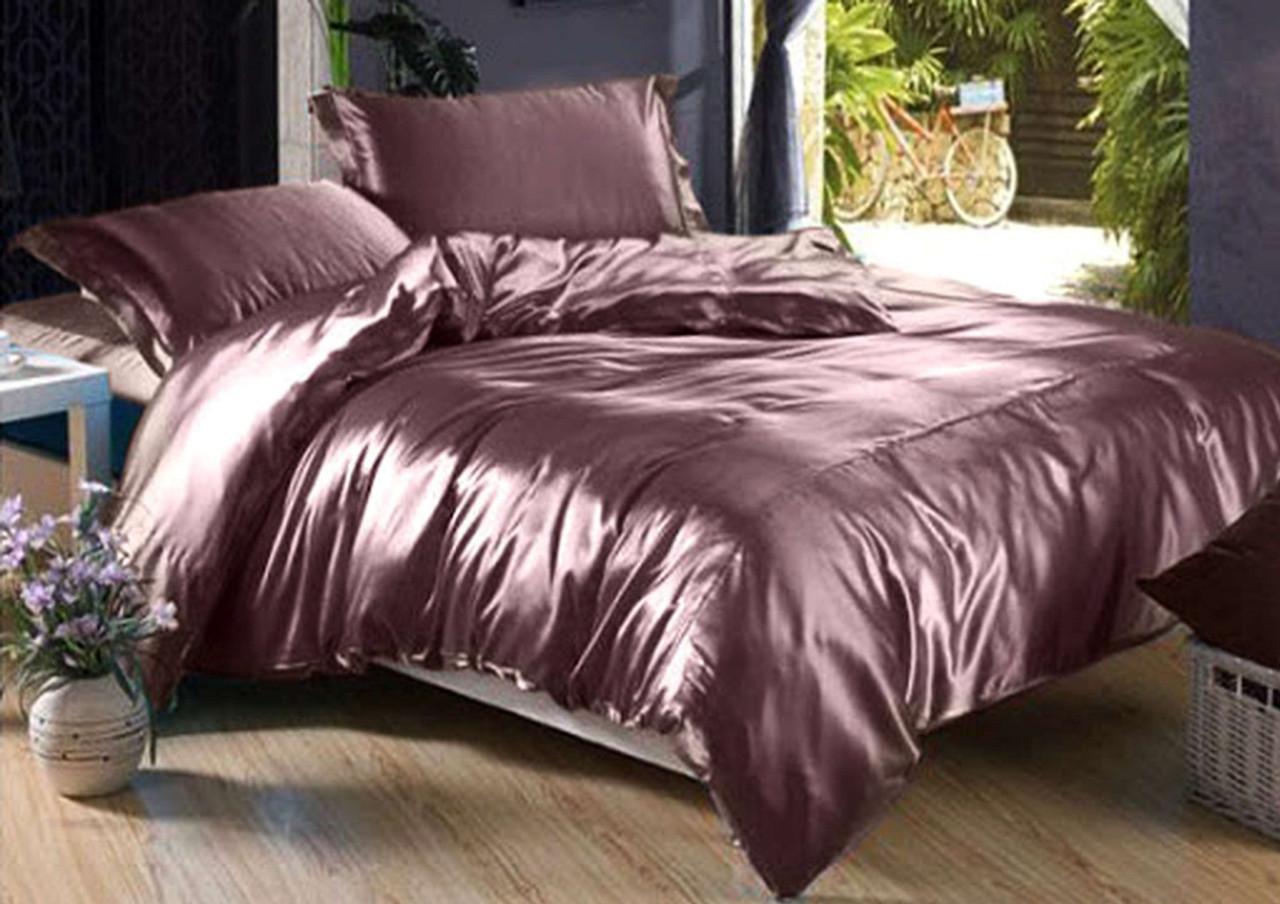 """Шикарное атласное постельное белье """"Лиловый закат"""", шелковый постельный комплект"""