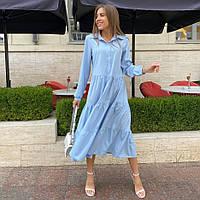 Вільне плаття-трапеція на ґудзиках з довгим рукавом, фото 1