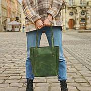 Кожаная сумка Shopper зеленая
