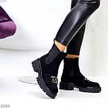 ТОЛЬКО 38 р! Женские ботинки ДЕМИ черные декор с резинкой эко замш весна/ осень, фото 2