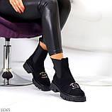 ТОЛЬКО 38 р! Женские ботинки ДЕМИ черные декор с резинкой эко замш весна/ осень, фото 5