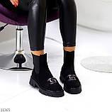 ТОЛЬКО 38 р! Женские ботинки ДЕМИ черные декор с резинкой эко замш весна/ осень, фото 7