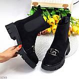 ТОЛЬКО 38 р! Женские ботинки ДЕМИ черные декор с резинкой эко замш весна/ осень, фото 8